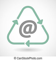 Line art recycle sign icon with an at sign