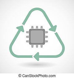 line art recycle sign vector icon with a cpu - Vector...