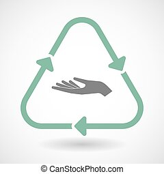 line art recycle sign vector icon with a hand offering