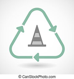 line art recycle sign vector icon with a road cone