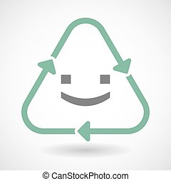 line art recycle sign vector icon with a smile text face