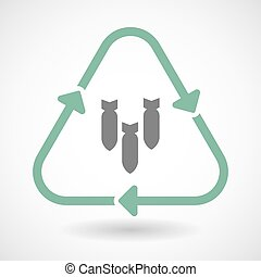 line art recycle sign vector icon with three bombs falling