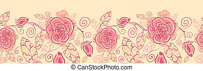 Line art roses horizontal seamless pattern background border