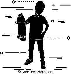 line art silhouette of a boy standing with a skateboard in his h