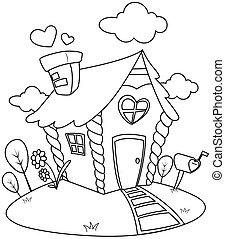 Line Art Small House