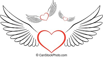 Line art-style flying hearts - A romantic vector...