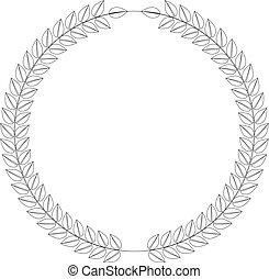 Line art style wreath. Leafs in cirlce or round shape with thine stroke line. Vector illustration.