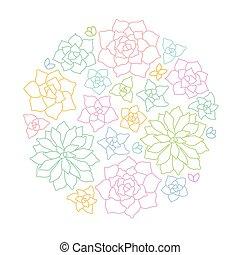 Line art succulent plant round composition on white...