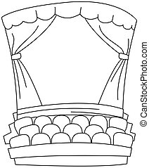 Line Art Theater - Line Art Illustration of an Empty Theater