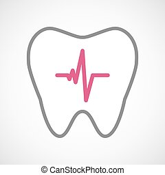 Line art tooth icon with a heart beat sign