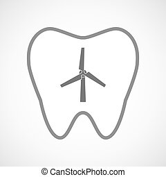 Line art tooth icon with a wind generator