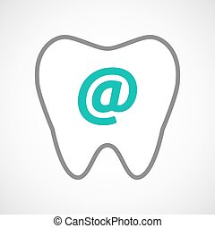 Line art tooth icon with an at sign