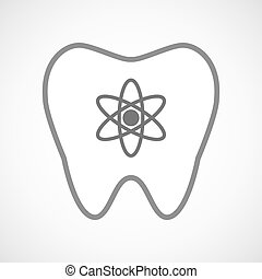 Line art tooth icon with an atom