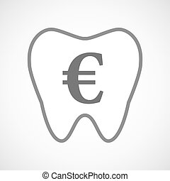 Line art tooth icon with an euro sign