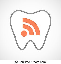Line art tooth icon with an RSS sign