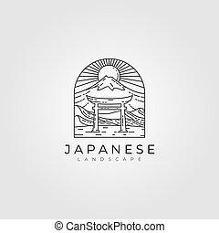 line art torii gate vector japanese illustration design, torii line art logo design