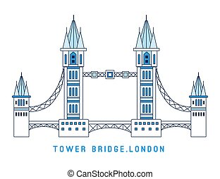 Line art Tower Bridge, England, symbol of London, European famous sight, vector illustration in flat style.