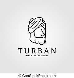 line art turban minimalist logo vector illustration design