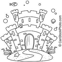 Line Art Undersea Castle - Line Art Illustration of a Castle...