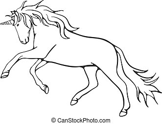 Line art unicorn, vector