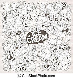 Line art vector cartoon set of ice-cream doodle designs