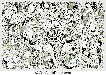 Line art vector cartoon set of italian food objects