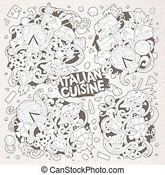 Line art vector cartoon set of italian food designs