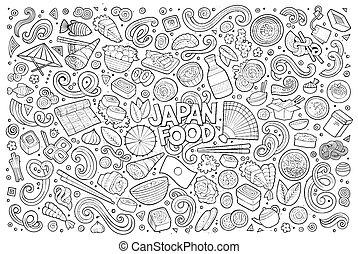 Line art vector cartoon set of Japan food objects