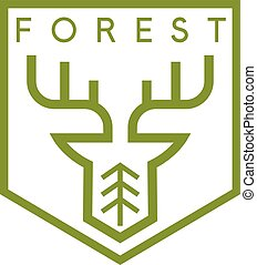 line art vector crest with deer and tree