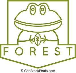 line art vector crest with simple frog