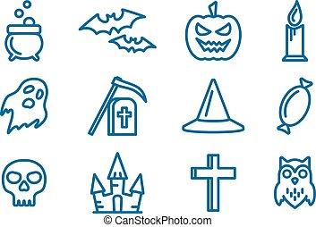 Line art vector icons set for Halloween.