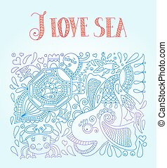vector illustration in blue colors with funny fish, octopus...