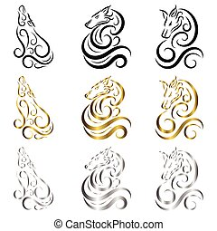 Line art vector of  wolf. Can be used to make a logo Or decorative items There are three colors black gold and silver