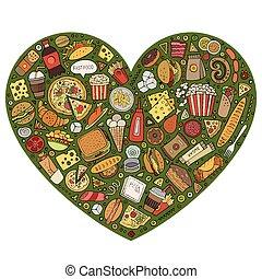 Line art vector set of Fast Food items