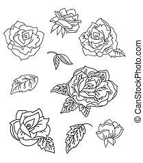Line art vector set of rose flowers