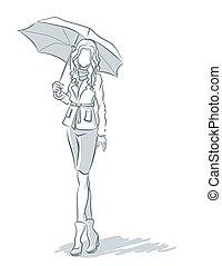 Line-art with girl under umbrella  in autumn