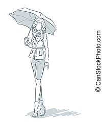 Line-art with girl under umbrella  in autumn