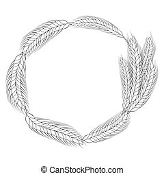 line art wreath of wheat frame with copy space