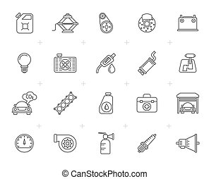 Line Auto service and car part icons - vector icon set 3