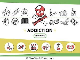 Line Bad Habits Icons Set