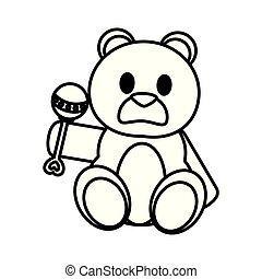 line bear teddy cute toy with rattle
