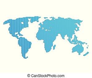 Line blue world map