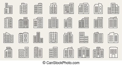 Line Building Icons set, Company Vector illustration
