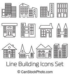 line Building Icons Set