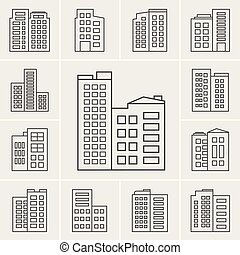 Line Building Icons Vector illustration