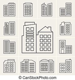 Line Building Icons Vector illustration set