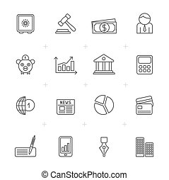 Line Business, Banking and Finance Icons