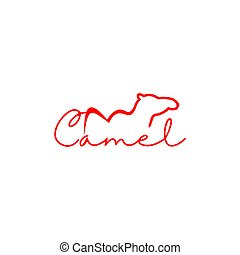 Line Camel Logo Design Vector