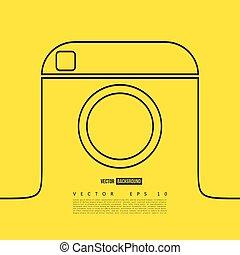 Line camera photo instagram. Vector line illustration