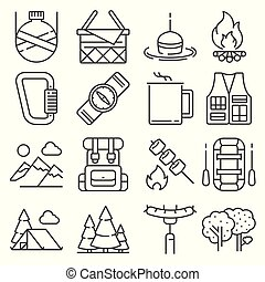 Line Camping and outdoor recreation icons set